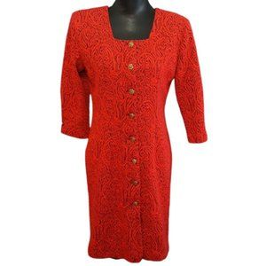 VTG Pencil Dress Red Paisley Button Front